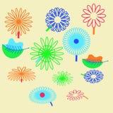 Картина флористического мотива, цветки, листья, doodles Стоковые Изображения