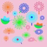Картина флористического мотива, цветки, листья, doodles Стоковое Изображение RF