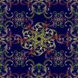 Картина флористической вышивки вектора безшовная в стиле барокко bluets иллюстрация вектора