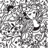Картина флористической женщины безшовная - принципиальная схема способа Стоковые Изображения RF
