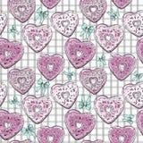 Картина формы сердца Donuts на предпосылке проверки Стоковое Изображение RF