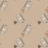 Картина фотографического фильма на предпосылке бумаги kraft Vector иллюстрация для печати, упаковочной бумаги, ткани Стоковое Изображение RF