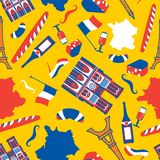Картина Франции безшовная Национальная французская предпосылка символа Эйфелева башня и Нотр-Дам de Париж Багет и вино Усик и иллюстрация вектора