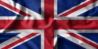 Картина флага Великобритании на высокой детали хлопко-бумажных тканей волны Стоковые Фотографии RF