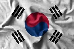Картина флага Южной Кореи на высокой детали хлопко-бумажных тканей волны Стоковые Изображения