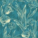 Картина флористического вектора безшовная на голубой предпосылке Стоковое Изображение