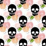 Картина флористического черепа безшовная Стоковое Изображение