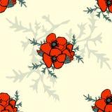Картина флористической предпосылки мака безшовная Стоковое Изображение