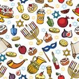 Картина Хануки безшовная Праздник Doodle еврейский Стоковые Изображения