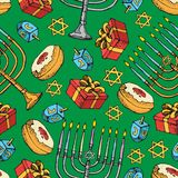 Картина Хануки еврейского праздника безшовная Комплект традиционных символов Chanukah изолированный на бело- dreidels, помадках,  иллюстрация штока
