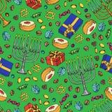 Картина Хануки еврейского праздника безшовная Комплект традиционных символов Chanukah изолированный на бело- dreidels, помадках,  иллюстрация вектора
