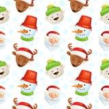 Картина характеров рождества безшовная иллюстрация вектора