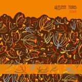 Картина хворостин Оранжевая коричневая предпосылка с дизайном границы Место текста Стоковое Изображение RF