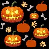 Картина хеллоуина безшовная с оранжевой тыквой иллюстрация вектора