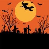 Картина хеллоуина с могилами, летучими мышами, свечами и на задней части черноты иллюстрация штока