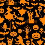 Картина хеллоуина безшовная на черной предпосылке бесплатная иллюстрация