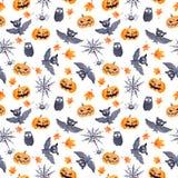 Картина хеллоуина безшовная - тыква, летучая мышь, сыч Милая наивная акварель Стоковое Фото