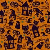 Картина хеллоуина оранжевая праздничная безшовная Стоковые Изображения