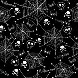 Картина хеллоуина. Пауки на сетях безшовных Стоковое Изображение RF