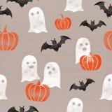 Картина хеллоуина тематическая (тыквы, призраки, бить) безшовная на предпосылке бумаги картона Торжество осени в октябре Стоковое Изображение RF