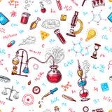 картина химии безшовная Доска с элементами, формулами, атомом, пробиркой и лабораторным оборудованием лаборатория иллюстрация штока