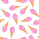 Картина холодного лета безшовная с конусами мороженого ягоды эскиза Стоковое Изображение