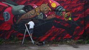 Картина художника граффити стоковое изображение