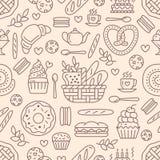 Картина хлебопекарни безшовная, предпосылка вектора еды бежевого цвета Продукты кондитерскаи утончают линию значки - испеките, кр Стоковая Фотография RF