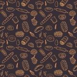 Картина хлебопекарни вектора безшовная Собрание нарисованное рукой Стоковое Изображение RF