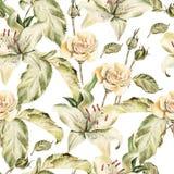 Картина цвета воды с лилиями цветков, розами Иллюстрация вектора