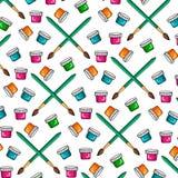 Картина цвета комплекта пестрых красок и щеток для красить Чонсервные банкы краски brusher Стоковое Изображение RF