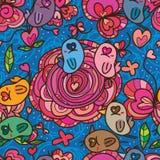 Картина цвета пинка цветка влюбленности глаза птицы безшовная иллюстрация вектора