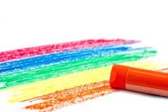 Картина цвета радуги и пастель оранжевого масла на белой предпосылке Стоковая Фотография