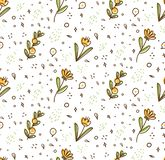 Картина цветка безшовная в иллюстрации вектора стиля doodle kawaii бесплатная иллюстрация