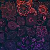 Картина цветка вектора Красочная безшовная ботаническая текстура, детальные иллюстрации цветков Все элементы не подрезаны иллюстрация штока