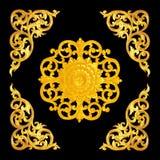 Картина цветка высекла для украшения изолированного на черноте Стоковая Фотография RF