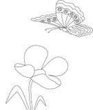 Картина цветка и бабочки Стоковая Фотография RF