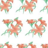 Картина цветка лилии акварели безшовная Стоковые Изображения