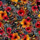 Картина цветка поля с красными и желтыми цветками иллюстрация вектора