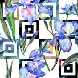 Картина цветка радужки Wildflower в стиле акварели