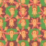 Картина цветка symmtery льва шаржа безшовная Стоковая Фотография