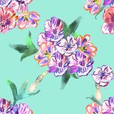 картина цветков безшовная акварель иллюстрация штока