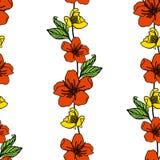 картина цветков безшовная также вектор иллюстрации притяжки corel Стоковое Изображение RF