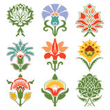 Картина цветков года сбора винограда установленная восточная Стоковые Фото