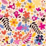 Картина цветков и птиц Стоковая Фотография RF