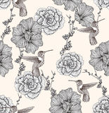 картина цветков птиц безшовная