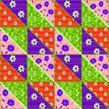 Картина цветков яркого шнурка заплатки безшовного ретро Стоковое Фото