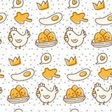 Картина цыпленка и яйца безшовная в иллюстрации вектора стиля doodle kawaii иллюстрация вектора