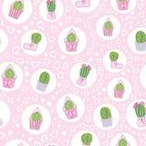 Картина чаепития кактусов пинка вектора безшовная иллюстрация штока