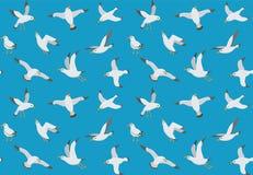 Картина чайок безшовная Чайка шаржа летая над морем Текстура морского вектора бесконечная Стоковые Фотографии RF